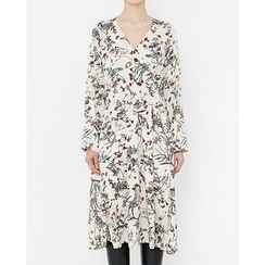 Someday, if - Crossover Floral Pattern A-Line Dress