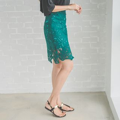 WITH IPUN - Laced Pencil Skirt