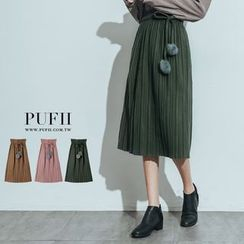 PUFII - PomPom Strap Pleated Skirt