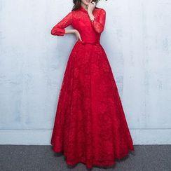 名贵风格 - 七分袖蕾丝晚礼服