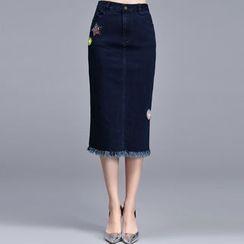 Sentubila - Frayed Hem Midi Denim Skirt