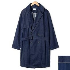 Seoul Homme - Notched-Lapel Double-Breasted Denim Trench Coat
