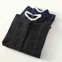 兰芝 - 格子扣带袖衬衫裙