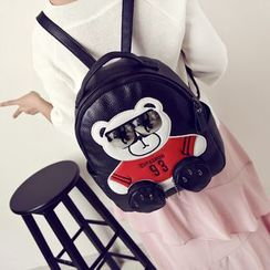 Bagolo - Faux-Leather Bear-Applique Backpack