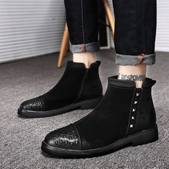 MARTUCCI - Genuine Leather Studded Ankle Boots