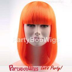 Party Wigs - PartyBobWigs - 派對BOB款中長假髮 - 螢光橙色