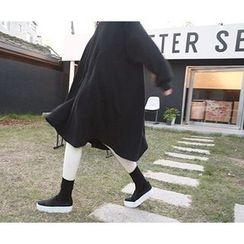 MARSHMALLOW - Brushed Fleece-Lined Shift Midi Dress