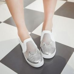 Charming Kicks - Mesh Panel Slip-Ons