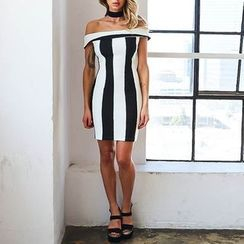 Flobo - Off-Shoulder Striped Sheath Dress