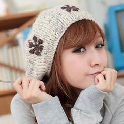 Momiton - Snowflake Pompom Knit Beanie