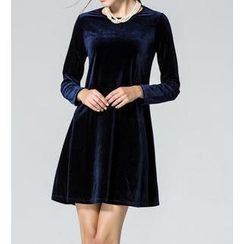 Dream a Dream - Long-Sleeve Velvet A-Line Dress