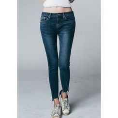 Chlo.D.Manon - Fray-Hem Brushed-Fleece Lined Skinny Jeans