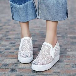 Pretty in Boots - Hidden Wedge Lace Slip-Ons
