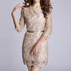 Amella - 3/4-Sleeve Lace Dress