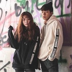 Superstar.i - Couple Hooded Lettering-Sleeve Fleece Pullover