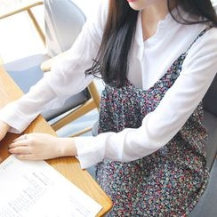 Envy Look - Mandarin-Collar Open-Placket Blouse