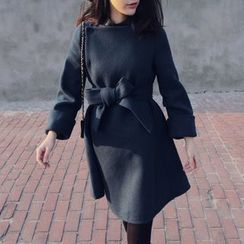 DAZZ - Plain Bow Knit Coatdress