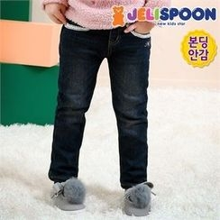 JELISPOON - Girls Glittered-Trim Fleece-Lined Jeans