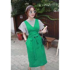 Miamasvin - Tie-Waist Linen Jumper Skirt
