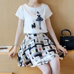 ONXZ - Set: Printed Short-Sleeve T-Shirt + Patterned Organza Skirt