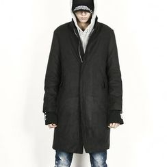 Rememberclick - Mandarin-Collar Long Zip-Up Jacket