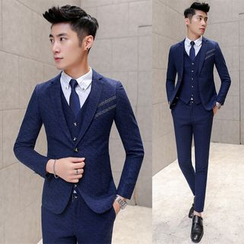 Blueforce - Set: Striped Blazer + Vest + Dress Pants