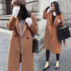 Mariposa - Notch Lapel Long Woolen Coat