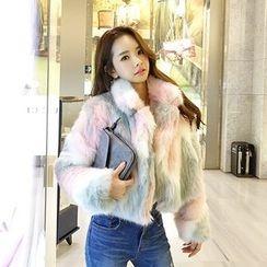 DABAGIRL - Collared Multicolor Faux-Fur Jacket