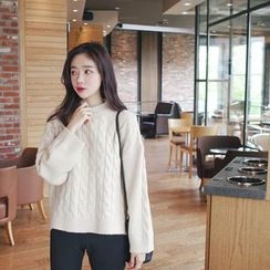 mimi&didi - Mock-Neck Cable-Knit Top