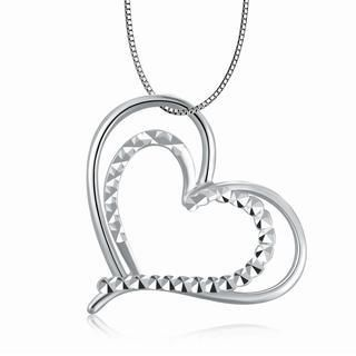 MaBelle - 14K White Gold Open Heart In Heart With Polished and Diamond-Cut Necklace (16'), Women Jewelry in Gift Box