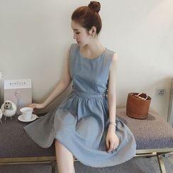 Munai - Short-Sleeve A-Line Dress