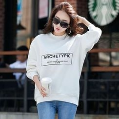 Zyote - Letter Fleece-lined Sweatshirt