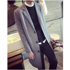 Bay Go Mall - Notched Lapel Single-Breasted Coat