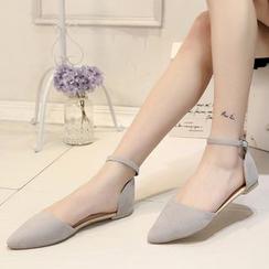 Kicko - Ankle Strap Pointy Flats