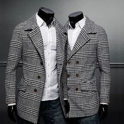 Bay Go Mall - Double Breasted Houndstooth Coat
