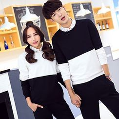 Tabula Rasa - Couple Matching Colour Block Long-Sleeve Top