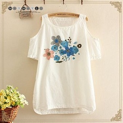 Maymaylu Dreams - Embroidered Cutout Shoulder Short-Sleeve Top