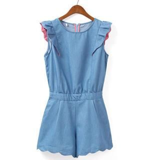 JVL - Frilled-Cuff Scalloped-Hem Denim Playsuit