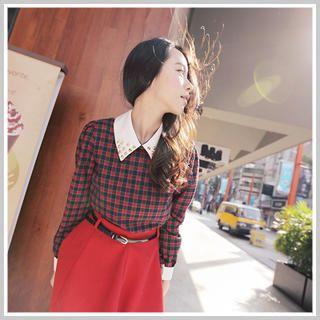 Clair Fashion - Studded Collar Check Top