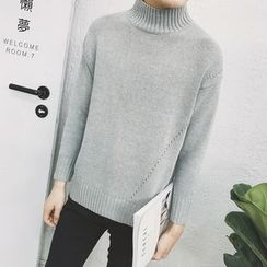 DragonRoad - Plain Mock Neck Sweater