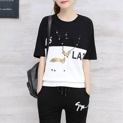 Lavogo - Set: Sequined Color Panel Elbow Sleeve T-Shirt + Capri Jogger Pants