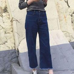 Clair Fashion - 韩版复古高腰阔腿牛仔裤