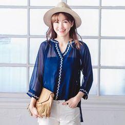 Tokyo Fashion - Chiffon Split-neck Embroidered Top