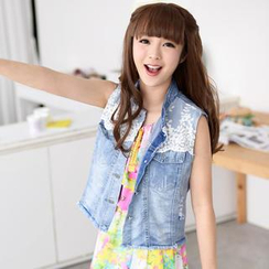 59 Seconds - Lace Panel Distressed Denim Vest