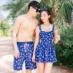 Roseate - Couple Matching Floral Swim Dress / Floral Swim Shorts