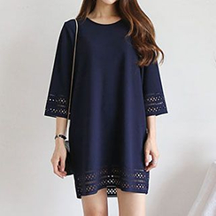 Champi - Perforated 3/4 Sleeve Sheath Dress