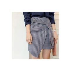 CHERRYKOKO - Houndstooth Mini Wrap Skirt