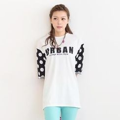 SO Central - Polka Dot Sleeved Letter Print Oversized T-Shirt