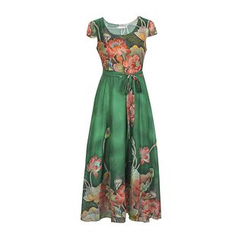 Flore - Short-Sleeve Printed Chiffon Dress