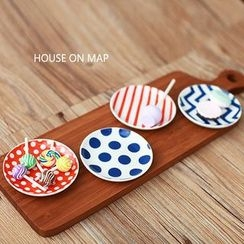 house on map - Set of 4: Plate